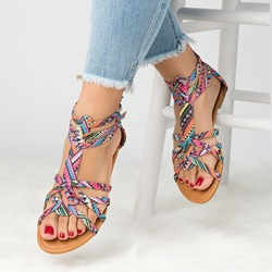 Shoespie Open Toe Color Block Flat Sandals