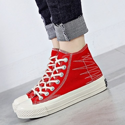 Casual Canvas Lace-Up High Upper Women's Sneakers