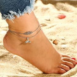 Bohemian Fish Tail Shape Double Anklets