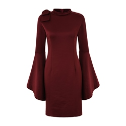 Shoespie Stand Collar Bowknot Women's Bodycon Dress