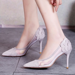 Shoespie Plain Pointed Toe Mesh Stiletto Heels