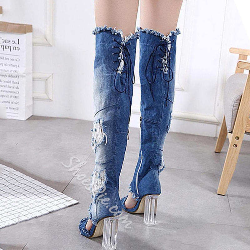 Shoespie Worn Open Toe Thigh High Boots