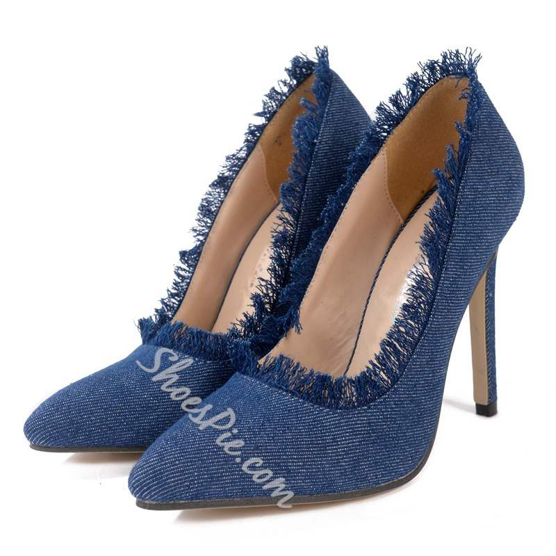 Shoespie Fringe Blue Pointed Toe Stiletto Heels