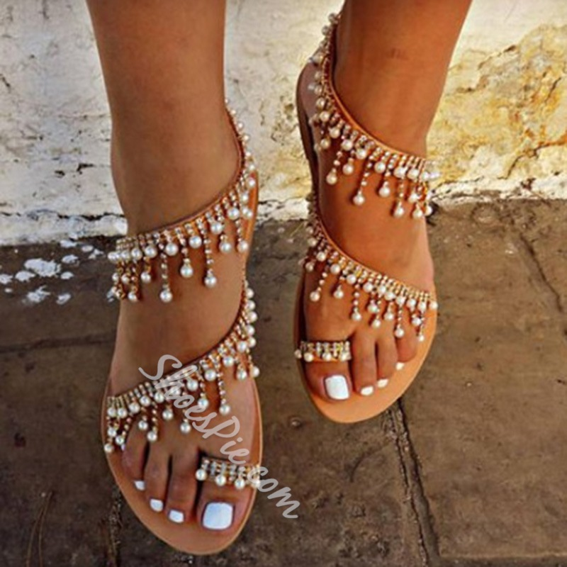 Shoespie Rhinestone Toe Ring Slip-On Flat Sandals