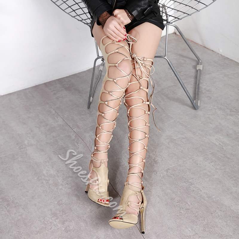 Sheospie Cross Strap Thigh High Boots