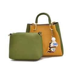 Shoespie Color Block Barrel Shaped Women Bag Set