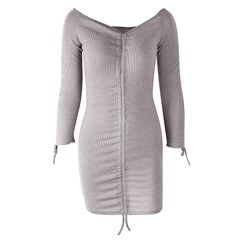 Shoespie Lace-Up Sexy Slash Neck Women's Bodycon Dress