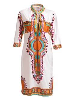 Shoespie Patchwork Stand Collar Ethnic Women's Maxi Dress