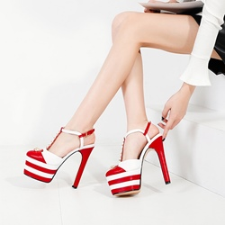 Rivet Color Block T-Shaped Buckle Sexy High Heels