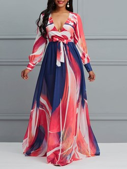 Shoespie Color Block Chiffon V Neck Women's Maxi Dress
