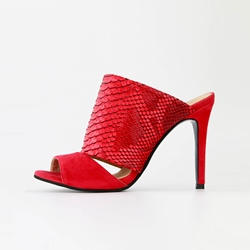 Shoespie Red Serpentine Slip-On Stiletto Sexy Mules