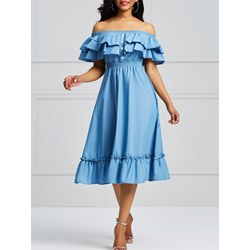 Shoespie Slash Neck Denim Women's A-Line Dress