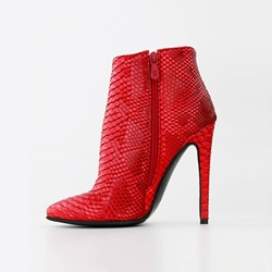 Serpentine Sexy Red Pointed Toe Stiletto Ankle Boots