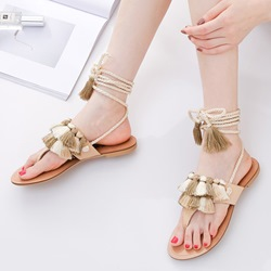 Shoespie Golden Fringe Lace-Up Flat Sandals