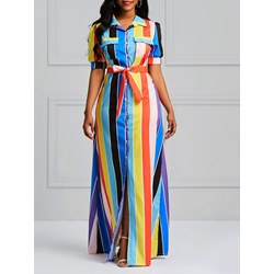 Shoespie Color Block Western Pocket Women's Maxi Dress