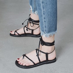 Shoespie Plain Lace-Up Black Flat Sandals