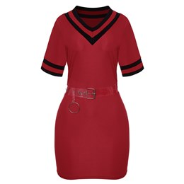 Shoespie Patchwork Belt Office Lady Women's Bodycon Dress
