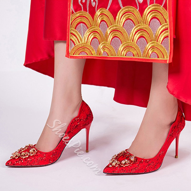 Shoespie Slip-On Rhinestone Pointed Toe Wedding Shoes