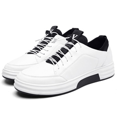 Black And White Low Upper Elastic Band Men's Shoes