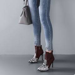 Shoespie Print Serpentine Pointed Toe Stiletto Boots