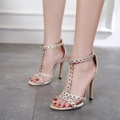 Light Apricot Rivet Zipper Open Toe Stiletto Heels