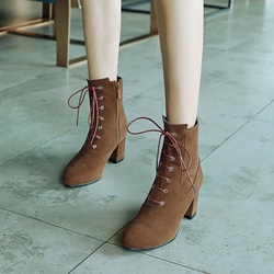 Casual Side Zipper Lace Up High Heel Boots