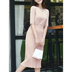 Shoespie Patchwork Simple Pullover Women's Bodycon Dress