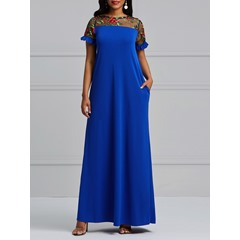 Shoespie Mesh Embroidery Patchwork Women's Maxi Dress