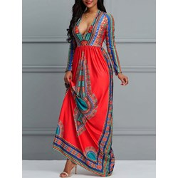 Geometric Pullover Print V Neck Women's Maxi Dress