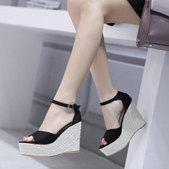 Black Casual Line-Style Buckle Peep Toe Wedge Sandals