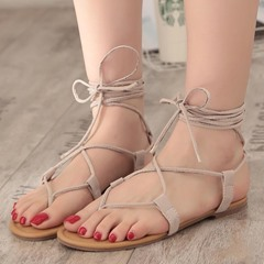 Shoespie Ankle Strap Lace-Up Thong Slide Sandals