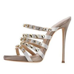 Casual Rhinestone & Rivet Open Toe Women's Slide Sandals