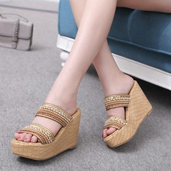 Shoespie Bohemian style Flip Flop PU Wedge Sandals