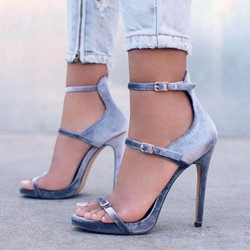 Shoespie Open Toe Line-Style Buckle Stiletto Heel Sandals