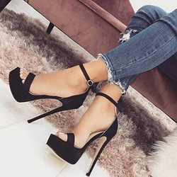Black Platform Line-Style Buckle Stiletto Heel Sandals