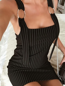 Shoespie Summer Stripe Zipper Women's Bodycon Dress