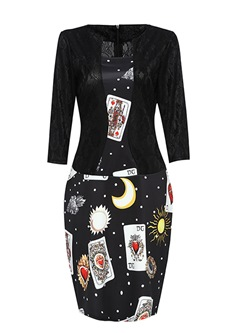 Shoespie Pullover Patchwork Printing Women's Bodycon Dress