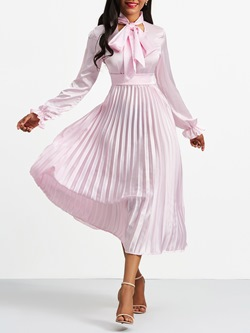 Shoespie Pleated Pullover Bowknot Women's Maxi Dress