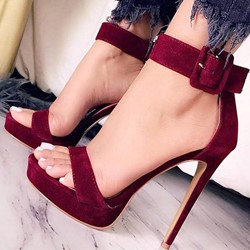 Sexy Open Toe Line-Style Buckle Stiletto Heel Sandals