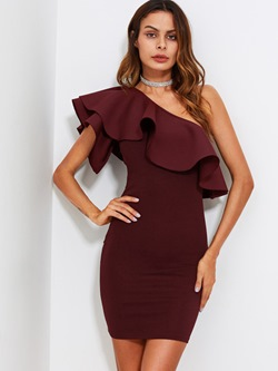 Shoespie Falbala One-Shoulder Plain Women's Bodycon Dress