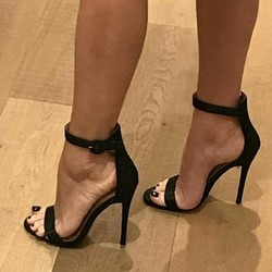 Classic Black Open Toe Buckle Stiletto Heels