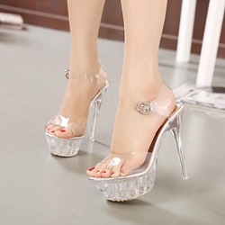 Silver Platform Ankle Strap Jelly Sexy High Heels