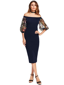 Shoespie Embroidery Patchwork Women's Bodycon Dress
