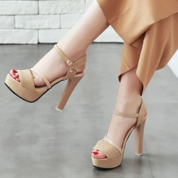 Shoespie Peep Toe Platform Chunky Heel Shoes