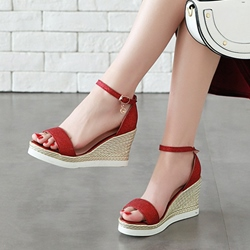 Open Toe Heel Covering Buckle Wedge Sandals