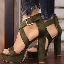 Shoespie Platform Plain Open Toe Buckle Heel Sandals