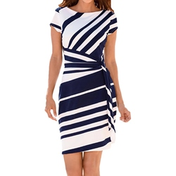 Shoespie Round Neck Stripe Women's Bodycon Dress