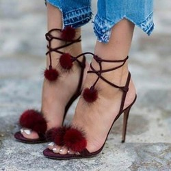 Cute Burgundy Pompon Lace-Up Stiletto Heels