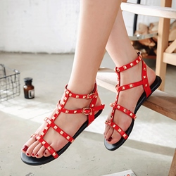 Rivet Decoration Strappy Open Toe Slipper