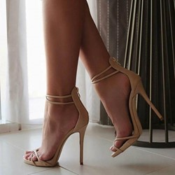 Shoespie Nude Plain Zipper Stiletto Heel Sandals